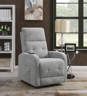 Tufted Upholstered Power Lift Recliner Grey - Hover