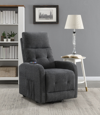 Tufted Upholstered Power Lift Recliner Charcoal - Hover