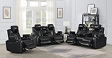 Bismark 3-piece Living Room Set with Power Headrest Black - Hover