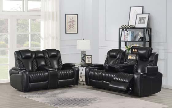 Bismark Power^2 Loveseat with Console Black - Hover