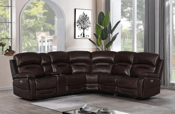 Amanda 6-piece Pillow Top Arms Power^3 Sectional Dark Brown - Hover