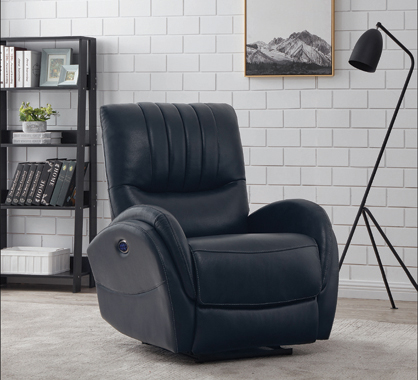 Upholstered Power^3 Recliner with Power Lumbar Blue - Hover