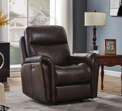Pillow Top Arms Upholstered Power^3 Glider Recliner Dark Brown - Hover