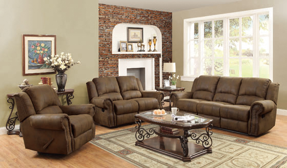 Sir Rawlinson Rolled Arm Glider Loveseat with Nailhead Trim Buckskin Brown - Hover