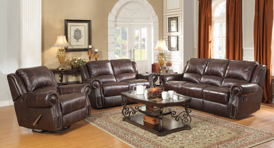 Sir Rawlinson Nailhead Trim Motion Sofa Dark Brown - Hover