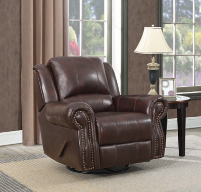 Sir Rawlinson Swivel Rocker Recliner Dark Brown - Hover