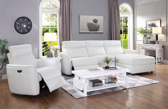 Cecelia Power^2 Sectional with Headrest White - Hover