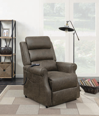 Upholstered Power Lift Recliner Brown - Hover