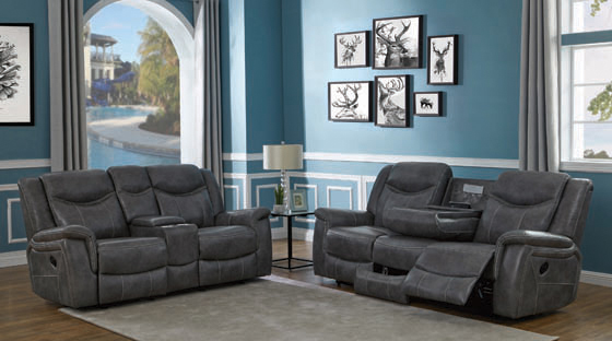Conrad Upholstered Motion Sofa Cool Grey - Hover