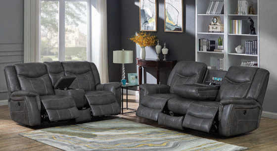 Conrad Upholstered Power Loveseat with Console Grey - Hover