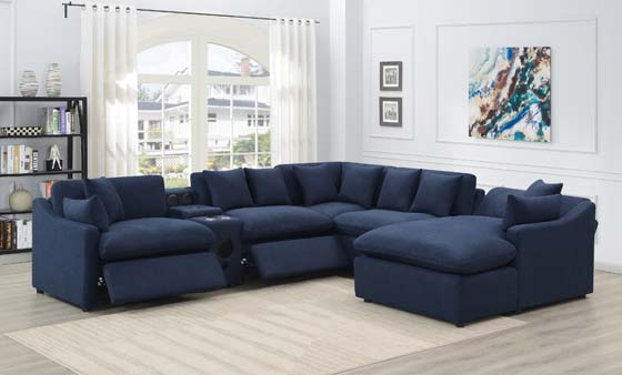 Destino 6-piece Modular Power Sectional Midnight Blue - Hover