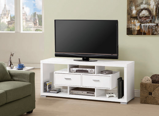 2-drawer Rectangular TV Console White - Hover