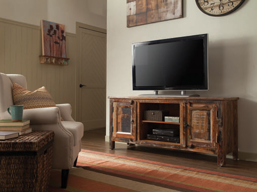 2-door TV Console Reclaimed Wood - Hover