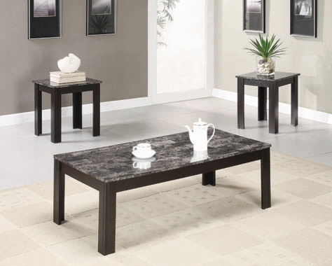 3-piece Faux-marble Top Occasional Table Set Black