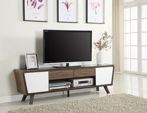 2-drawer TV Console Dark Walnut and Glossy White - Hover