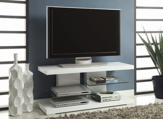 2-shelf TV Console Glossy White - Hover