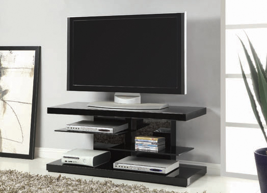2-shelf TV Console Glossy Black - Hover