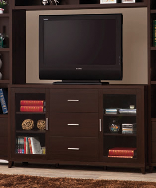 2-door TV Stand with Adjustable Shelves Cappuccino - Hover