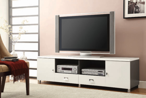 2-drawer TV Console White and Grey - Hover