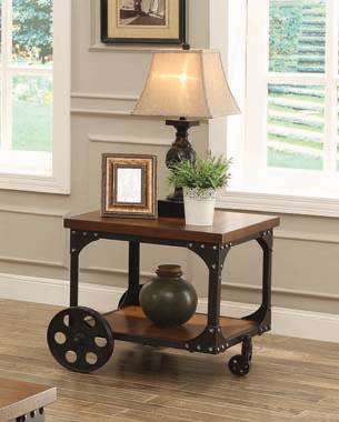 Roy End Table with Casters Rustic Brown - Hover