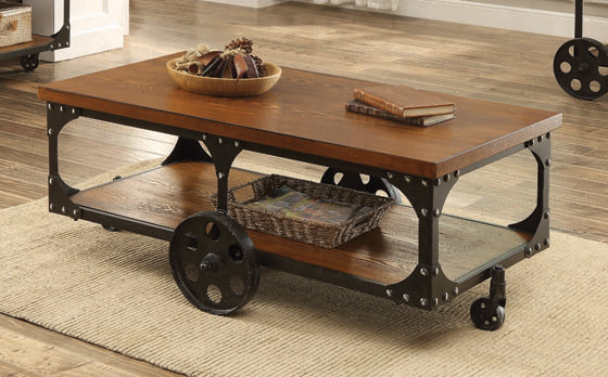 Roy Coffee Table with Casters Rustic Brown - Hover