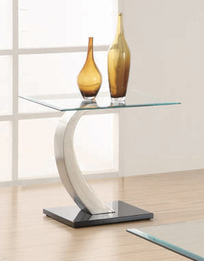 Willemse Glass Top End Table Clear and Satin - Hover