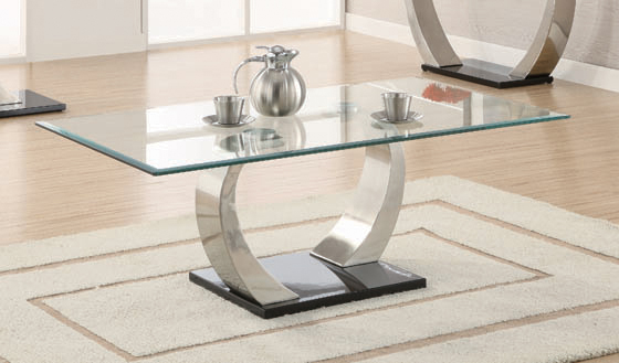Willemse Glass Top Coffee Table Clear and Satin - Hover