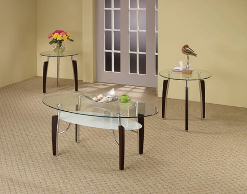 3-piece Occasional Table Set Cappuccino and Chrome - Hover