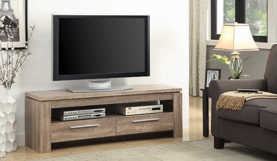 2-drawer TV Console Weathered Brown - Hover