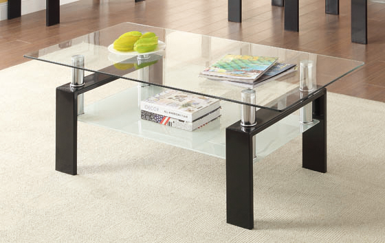 Tempered Glass Coffee Table with Shelf Black - Hover