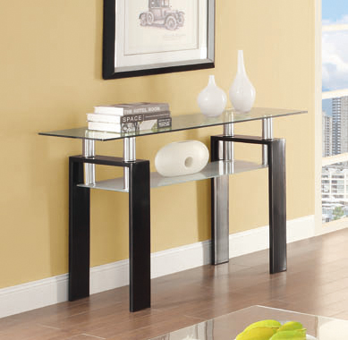 Tempered Glass Sofa Table with Shelf Black - Hover