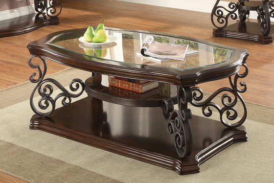 Sir Rawlinson Coffee Table Deep Merlot and Clear - Hover