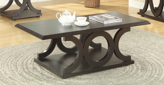 C-shaped Base Coffee Table Cappuccino - Hover