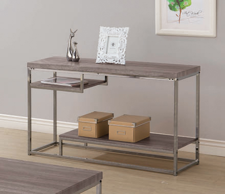 2-shelf Sofa Table Weathered Grey and Black Nickel - Hover