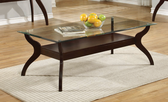 Glass Top Coffee Table with Shelf Cappuccino - Hover