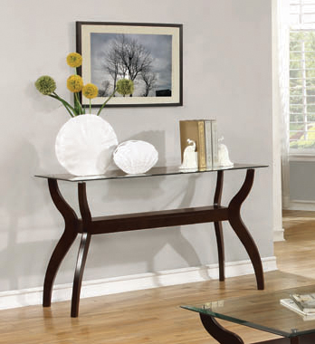 Glass Top Sofa Table with Shelf Cappuccino - Hover