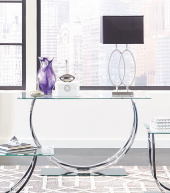 U-shaped Sofa Table Chrome - Hover
