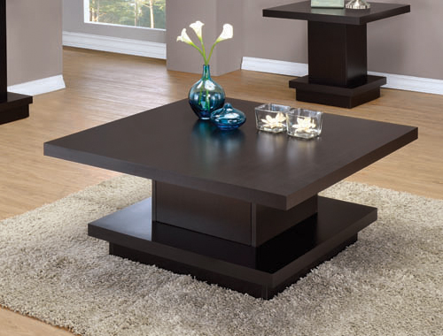 Pedestal Square Coffee Table Cappuccino - Hover