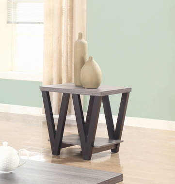 Higgins V-shaped End Table Black and Antique Grey - Hover