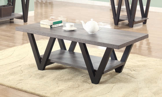 Higgins V-shaped Coffee Table Black and Antique Grey - Hover