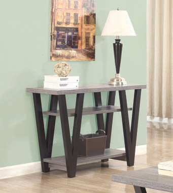 V-shaped Sofa Table Black and Antique Grey - Hover