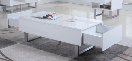 2-drawer Coffee Table High Glossy White - Hover