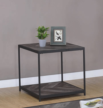 Meagan Chevron End Table Rustic Grey Herringbone - Hover