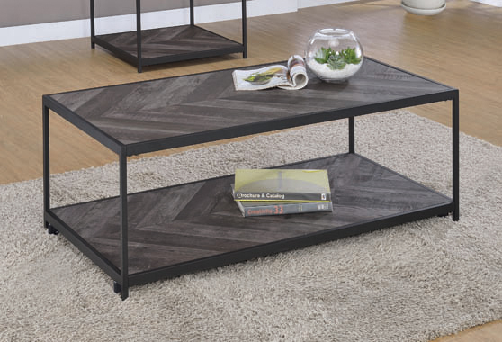 Meagan Chevron Coffee Table Rustic Grey Herringbone - Hover