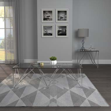 Chalet Square Coffee Table with Glass Top Chrome and Grey - Hover