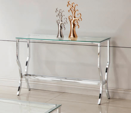 Rectangular Sofa Table with Mirrored Shelf Chrome - Hover