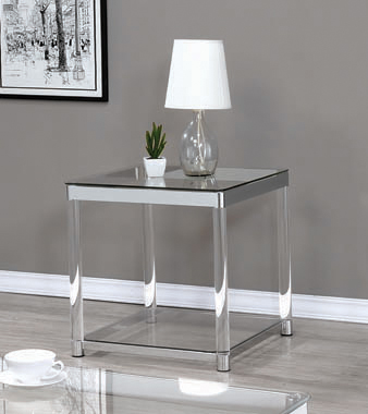 Claude End Table with Lower Shelf Chrome and Clear - Hover