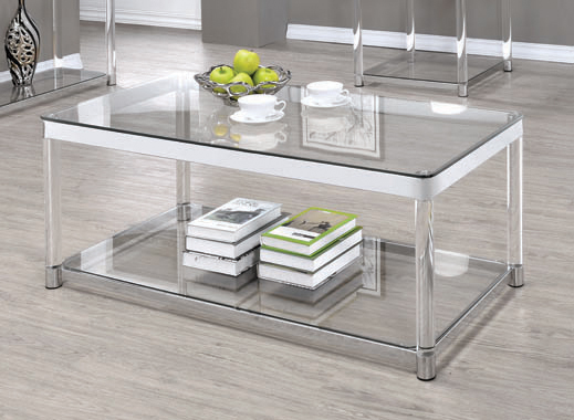 Claude Coffee Table with Lower Shelf Chrome and Clear - Hover