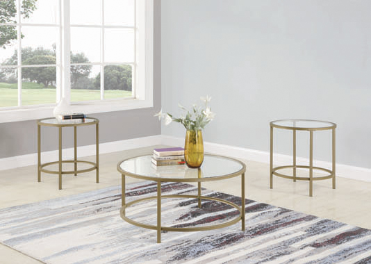 3-piece Occasional Set Brass and Clear - Hover