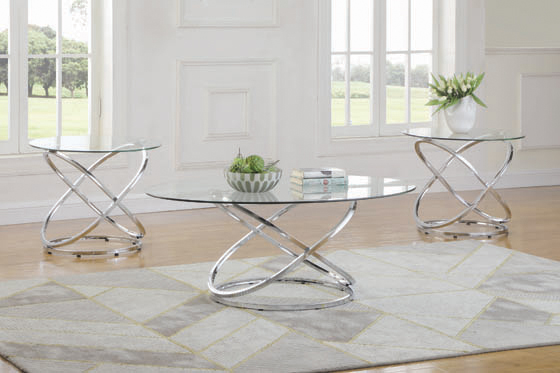 3-piece Occasional Set Chrome and Clear - Hover